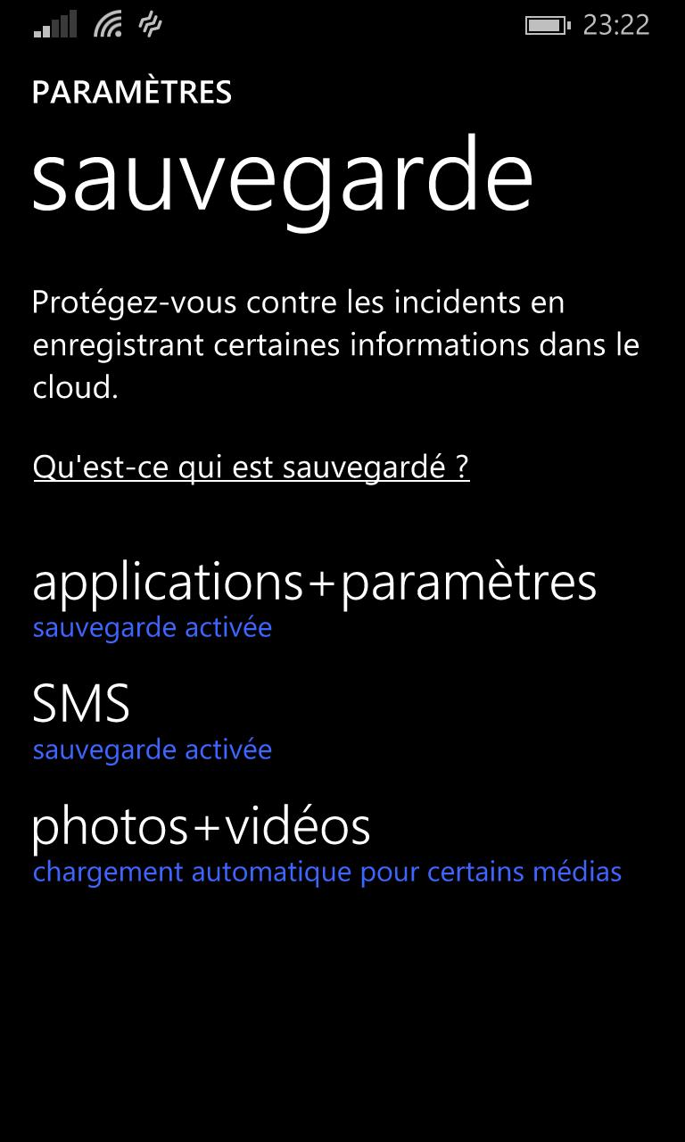 Screenshot Sauvegarde
